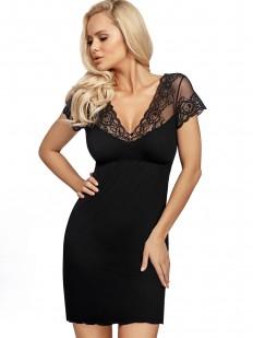 Короткая черная женская сорочка с красивым кружевным рукавом