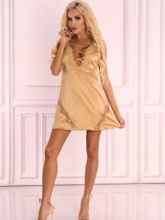 Короткая атласная сорочка золотистого цвета с глубоким вырезом
