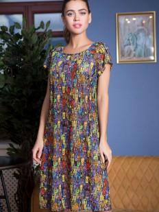 Пляжное цветное платье туника с коротким рукавом