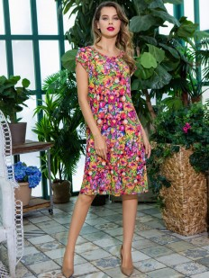 Летнее женское домашнее платье без рукавов с ярким принтом
