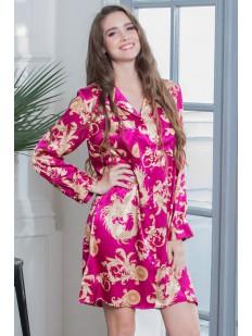 Женская атласная ночная сорочка рубашка с восточным принтом