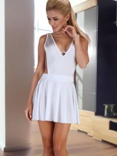 Соблазнительная белая ночная сорочка с глубоким вырезом Beauty Night Severine White