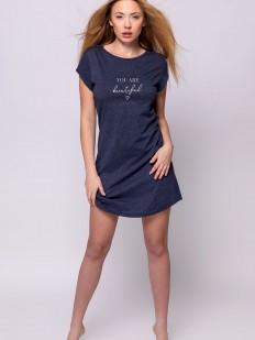 Хлопковая женская ночная сорочка с коротким рукавом синяя