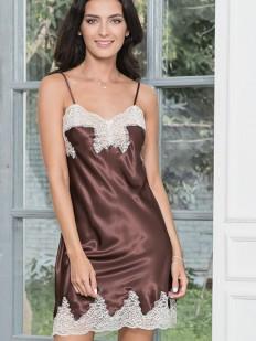 Ночная сорочка из шелка шоколадного цвета с кружевами