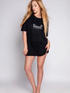 Черная короткая сорочка свободного кроя с надписью принцесса