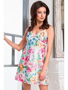 Женская атласная летняя сорочка с цветочным принтом