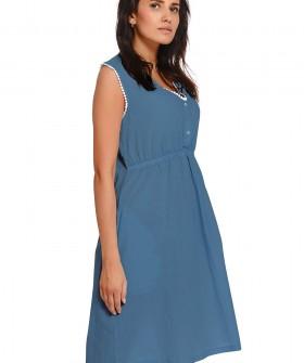 Синяя домашняя сорочка из хлопка на широких бретелях