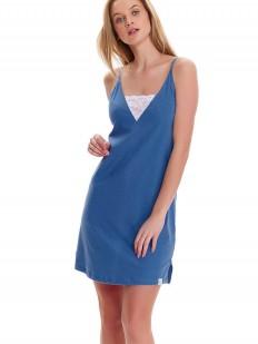 Синяя женская ночная сорочка из хлопка на тонких бретелях
