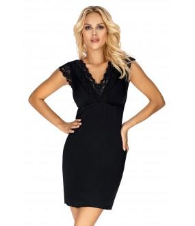 Черная ночная сорочка из вискозы с коротким кружевным рукавом