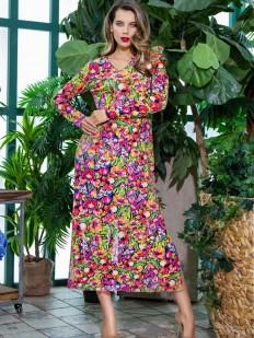 Женское летнее длинное платье для дома с ярким принтом