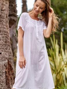 Женская белая свободная сорочка из хлопкового батиста