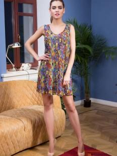 Короткое пляжное платье туника без рукавов с разноцветным принтом