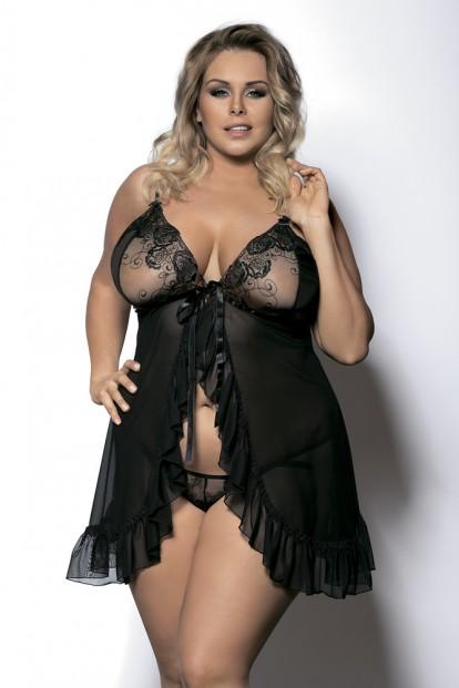 Комплект сорочки и стрингов черного цвета Gorgeous+ Foli - фото 1