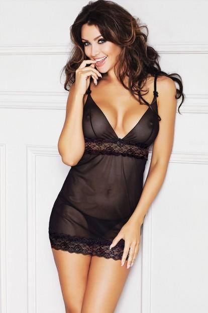 Черная прозрачная ночная сорочка Anais Alma - фото 1