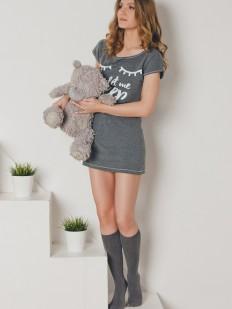 Женская короткая хлопоковая сорочка туника с принтом