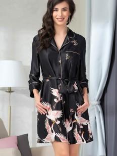 Черная атласная женская ночная рубашка с принтом журавль