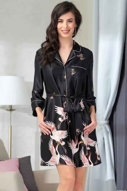 Черная атласная ночная рубашка Mia-Amore STEFANIA 8787 - фото 1