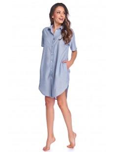 Голубая женская ночная рубашка из вискозы с карманами