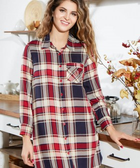 Женская ночная рубашка туника из вискозы в клетку