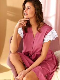 Розовая сорочка на кнопках с коротким кружевным рукавом
