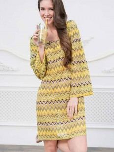 Летнее женское желтое платье туника с длинным рукавом