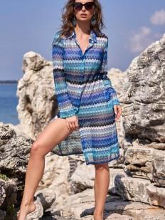 Женская пляжная рубашка с длинным рукавом и синим принтом