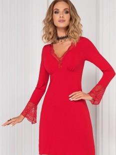 Женская красная ночная сорочка из вискозы с длинным кружевным рукавом