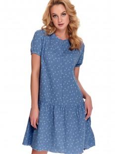 Синяя женская сорочка свободного кроя на кнопках