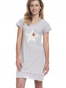 Серая короткая женская ночная сорочка из хлопка с принтом звезда
