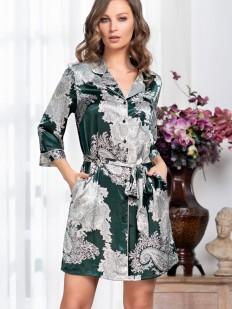 Шелковая ночная рубашка изумрудного цвета с серебристым рисунком