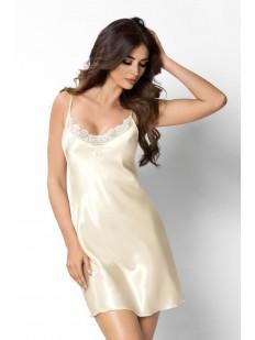 Атласная ночная сорочка женская на бретелях шампань