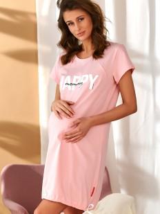 Хлопковая розовая сорочка для беременных и кормящих мам