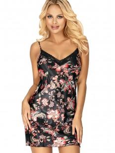 Короткая атласная сорочка черного цвета с цветочным принтом