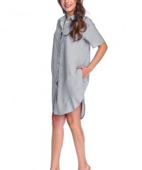 Серая женская ночная рубашка из вискозы с карманами