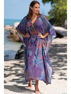 Длинная фиолетовая пляжная туника парео с восточным орнаментом