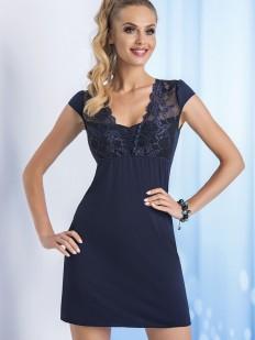 Короткая ночная сорочка из вискозы с кружевным рукавом синяя