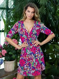 Летнее женское платье с ярким принтом и глубоким декольте