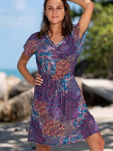 Короткая фиолетовая пляжная туника с восточным орнаментом