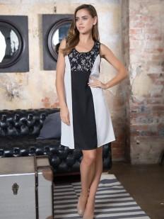 Женская домашняя трикотажная сорочка с кружевом черно-белая