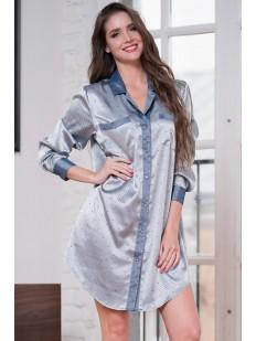 Атласная женская серебристая ночная сорочка рубашка