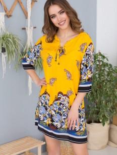 Летняя стильная женская желтая туника из принтованной вискозы