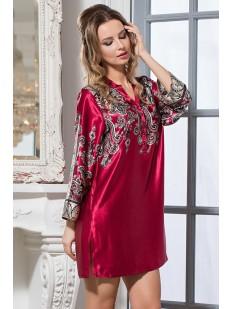 Бордовая шелковая женская ночная сорочка рубашка с орнаментом