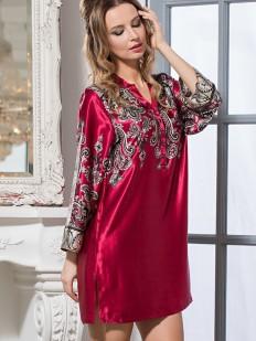 Бордовая шелковая женская ночная рубашка с орнаментом Justin Mia-Amore
