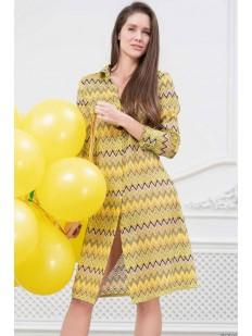 Желтая женская пляжная рубашка с геометрическим принтом