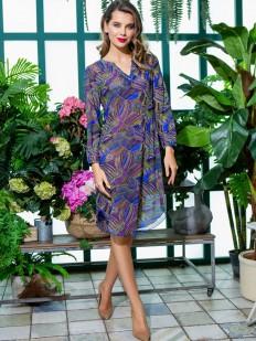 Летнее женское домашнее платье туника с длинным рукавом
