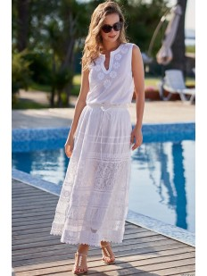 Длинная белая пляжная юбка из хлопка с цветочной вышивкой