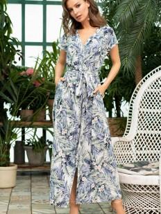 Длинное летнее платье рубашка из принтованной вискозы с карманами