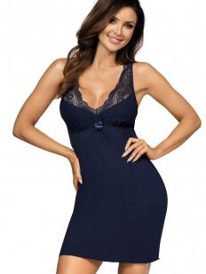Трикотажная женская ночная сорочка из вискозы с кружевом синяя