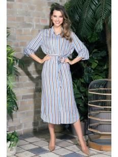 Длинное женское домашнее платье в полоску на пуговицах голубое