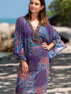 Фиолетовая женская пляжная туника с восточным орнаментом